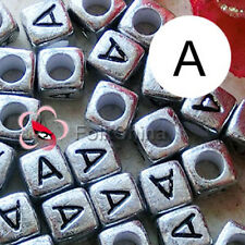 """A"" Silver Square Alphabet Letter Acrylic Plastic 6mm Beads 43C9308-a"