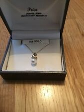 9ct Gold 18inch Necklace With Diamond & Pearl Pendant