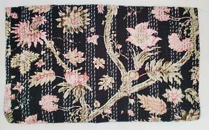 Indian Gudri Kantha Quilt Floral Hand Block Print Cotton Coverlet Bedding V