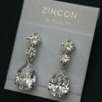 Three Stones Cubic Zirconia Teardrop Drop Wedding Brides Prom Party Earring UK