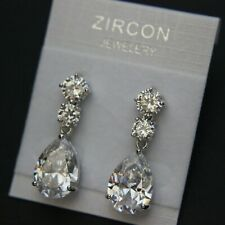Very Shiny Three Stones Cubic Zirconia Teardrop Drop Wedding Bride Prom Earrings