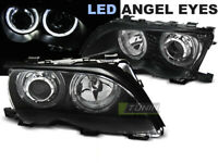 Coppia di Fari Anteriori per BMW E46 Serie 3 2001-2005 Angel Eyes LED Neri IT LP