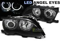 Coppia di Fari Anteriori per BMW E46 Serie 3 2001-2005 Angel Eyes LED Neri IT LP