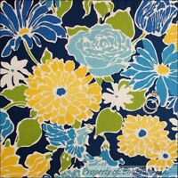 BonEful Fabric FQ Cotton Quilt Navy Light Blue Yellow White Green Flower Leaf US