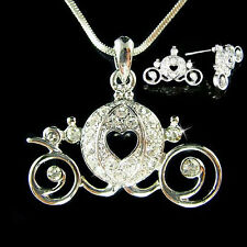 w Swarovski Crystal ~Cinderella Pumpkin Carriage~ Pendant Necklace Earrings Set