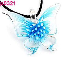Lifelike Butterfly art glass beaded pendant necklace p0321