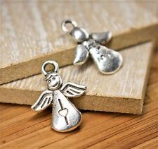22 Engel Anhänger Set ♥ Schmuckzubehör Schutzengel DIY Deko Charms Silber Flügel