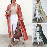 Womens Floral Coat Jacket Kimono Long Cardigan Maxi Cover Up Swimwear Plus Size