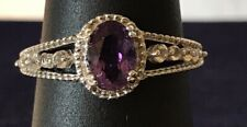 .59CT NATURAL PURPLE AMETHYST & TOPAZ COCKTAIL SILVER RING SIZE 6