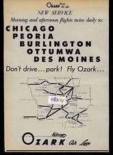 OZARK AIR LINES 1956 2 FLIGHTS DAILY CHICAGO/PEORIA/BURLINGTON/OTTUMA DC-3 AD