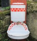 ANTIQUE FRENCH WHITE/ RED ENAMEL LAVABO Water Tank Bowl Fountain Brass Tap Works