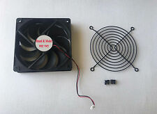 120mm 2pin Power Supply Replacement Cooling Fan + Blk Fan Guard Grill Screws Kit