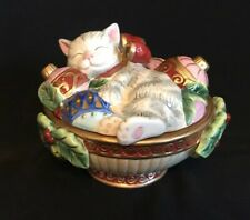 Fitz And Floyd Essentials Kristmas Kitty Candy Dish Bowl W/ Lid Christmas Cat
