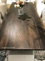 "New 96"" Modern Live Edge Dining Table Natural Solid Oak Slab Top Silver Steel"