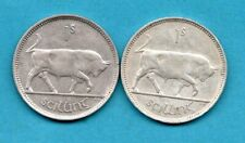 More details for 2 x irish silver shilling coins. 1928 & 1940. ireland. bull reverse.