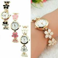 Fashion Classic Dress Flower Womens Round Quartz Analog Bracelet Wrist Watches