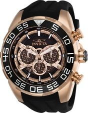 Invicta Men's Watch Speedway Chrono Rose Gold and Black Dial Rubber Strap 26304
