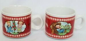 Campbells Kids Soup Cup Mug 2002 Spring Summer Harvest Scenes Lot of 2 Ceramic