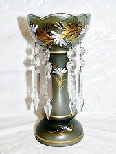 Antique Bohemian Glass Crystal Spear Prism Mantel Lustre Luster Czech Charcoal