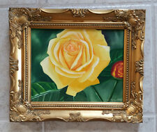Yellow Rose, Original Oil Painting, Flower, Garden, Signed, Framed, 10x8 inches