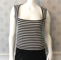 L'Agence Black and White Cotton Striped Square Neck Top Size 6