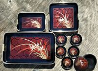 ASAHI Laquerware Coasters Set-Serving Trays Made in Japan