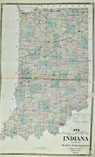 1876 Antique Sectional Township of Indiana Illustrated Baskin and Foster
