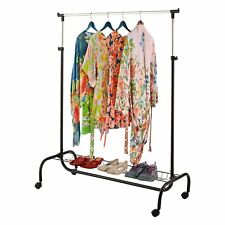 2 In 1 Portable Clothes Garment Hanging Rail Storage Rack With Shoe Rack Shelf