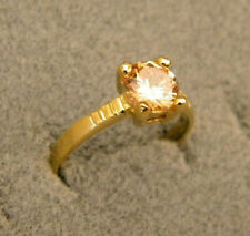 Lady's Girl's Yellow Gold Plated Fashion Round Citrine Solitaire Ring CZ Size 8