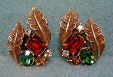 Vintage Coro Aurora Borealis Emerald Green Topaz Rhinestone Clip On Earrings