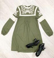 Topshop Midi tunic Dress top Long Sleeve Khaki Crochet Embroided Sz 10
