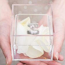Clear Bridal Wedding Ring Pillow Box Bearer Cushion Girl Engagement Jewelry Gift
