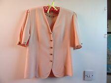 VINTAGE satin feel viscose blush pink jacket shaped shirt/blouse/top size S
