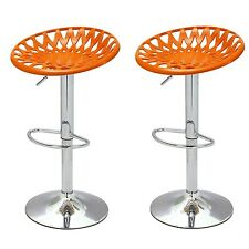 Adeco Orange Adjustable Height Bar Counter Tractor Seat Stools, Set of TWO