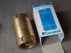 Campbell 1-1/4 Inch Brass Spring Check Valve CV-5T New in Box!