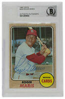 Roger Maris Signed 1968 Topps 330 St Louis Cardinals Outfield Card BGS
