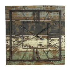HUGE 70cm Home Living Square Wooden Wall Clock Skeleton Shabby Chic Design