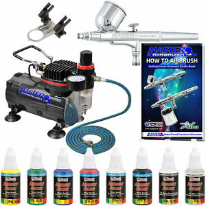 Primary Colors Paint Kit MASTER AIRBRUSH Gravity Dual-Action SET Air Compressor