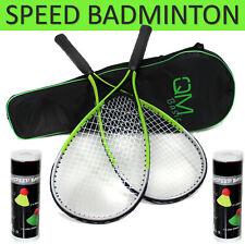 QMBasic TURBO Badminton Set + 10 Speed Bälle Rapid Federball Schläger Highspeed