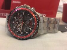 MENS CITIZEN SKYHAWK A-T RED ARROWS TITANIUM ALARM CHRONOGRAPH RADIO CONTROLLED