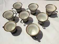 EIGHT(8) LENOX PORCELAIN COFFEE DEMI CUPS WITH STERLING SILVER HOLDERS