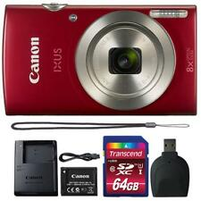 Canon IXUS 185 / ELPH 180 20MP Digital Camera Red and 64GB Accessory Bundle