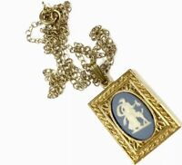 Vintage Rolled Gold Wedgwood Cameo Pendant & 18 Inch Chain Necklace GIFT BOXED
