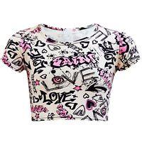KIDS GIRLS GRAFFITI SCRIBBLE PINK COMIC CROP TOP T SHIRT 7 8 9 10 11 12 13 Yr