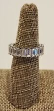 6.38 CARAT TW 925 STERLING SILVER & EMERALD CUT CZ ETERNITY BAND SIZE 8