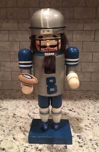 "Vintage 1990's #8 Troy Aikman Dallas Cowboys 12"" Holiday Nutcracker NFL Handmade"