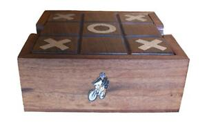 Mountain Biker Wooden Tic Tac Toe Solitaire Game FREE ENGRAVING 546