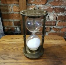 """Vintage Brass Sand Hourglass Zodiac Father Time with Roman Numerals 9"""" Tall"""