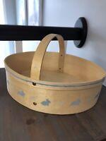 Vintage Veneer Bent Wood Pantry Box Style EASTER BASKET Decor Painted Bunnies