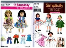 """2 Simplicity OOP PATTERNS 3929 & 3936 Doll Dress Clothes Fits 18"""" American Girl"""